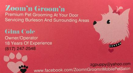 PET GROOMING AT YOUR DOOR.   Serving Johnson Cou  nty and some of southern Tarrant County.