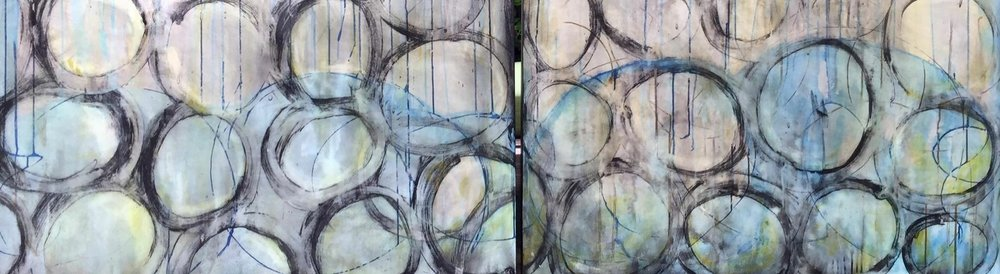 """Wash Cycle"", 96""x30""x 1.5"" Diptych, 2-48""x30""x 1.5"", Acrylic and Ink on Canvas"