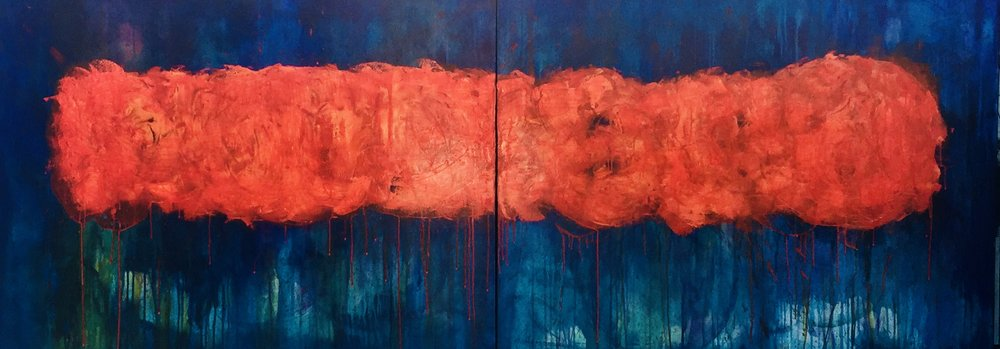 """Fireball"", 96""x36""x1.5"" Ink and Oil on Canvas"