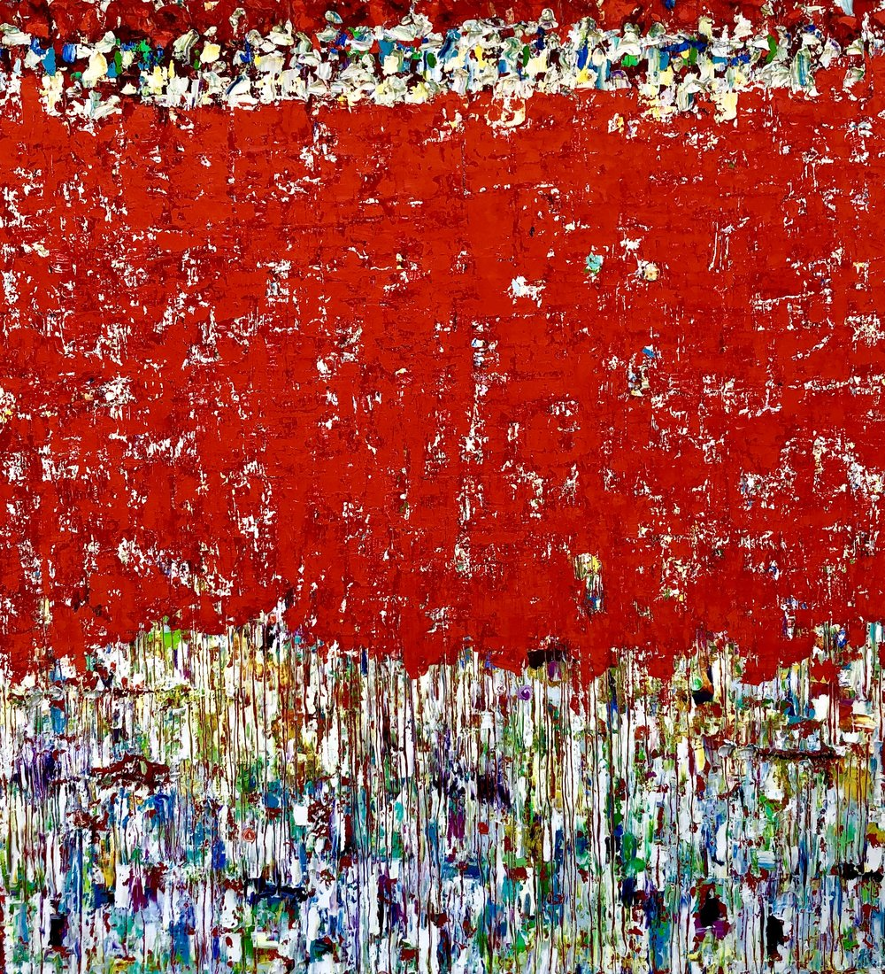 """""""Red Rover, Red Rover"""" 77"""" x 68"""" x 2.5"""" oil on canvas"""