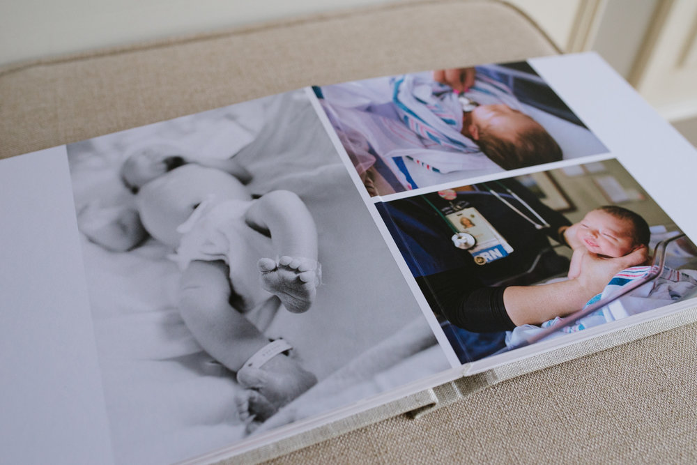 An example of an album spread as designed my Aimee Durrance for a birth photography session in Oxfordshire, UK.