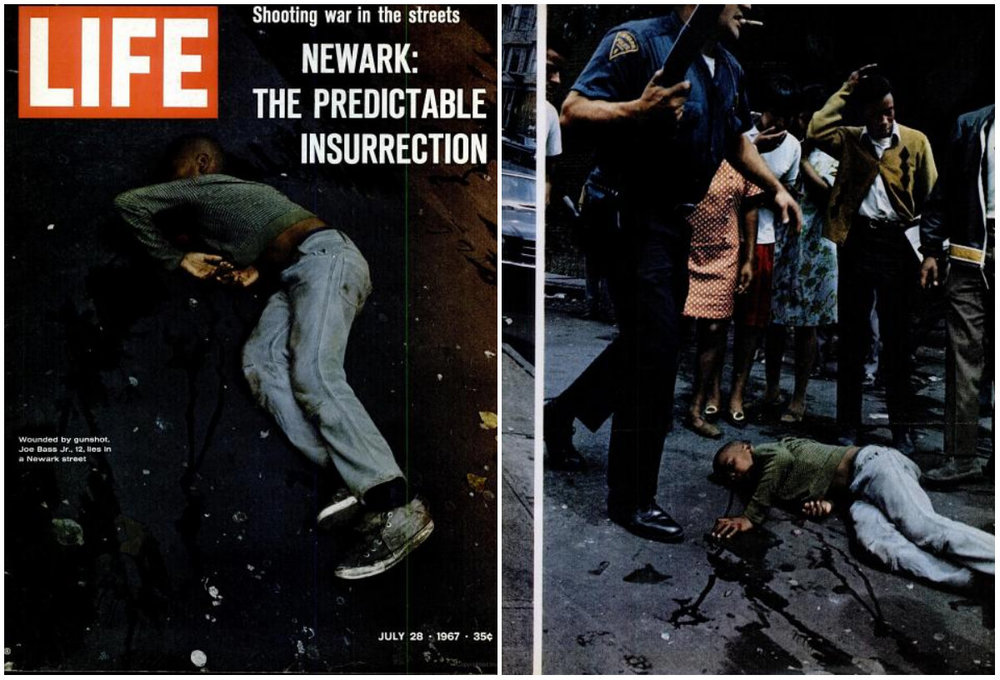 The July 28, 1967 cover of Life magazine featured a photo of 12-year-old Joe Bass Jr., dead on a Newark street after a shoot-out between civilians and police. (Source: Creative Commons/Life Magazine)