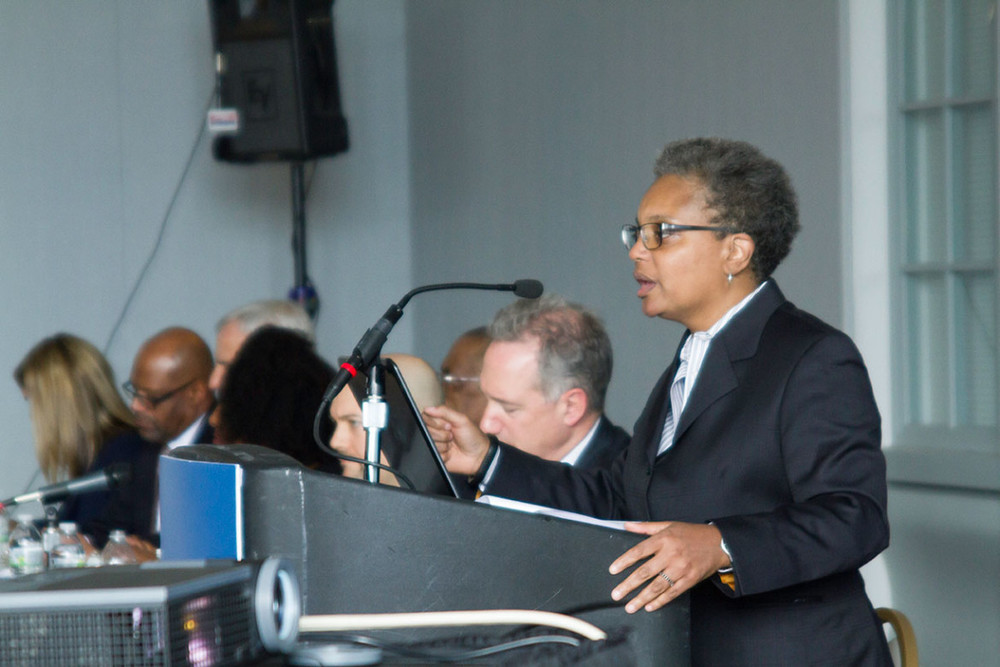 Police Accountability Task Force chair Lori Lightfoot speaks about the findings of the panel's report at the Harold Washington Library on April 13, 2016. (Stacey Rupulo/Chicago Reporter)