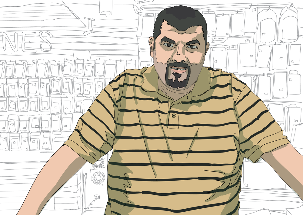 Anthony Hamdan, illustration by Dan Rowell/Chicagoist