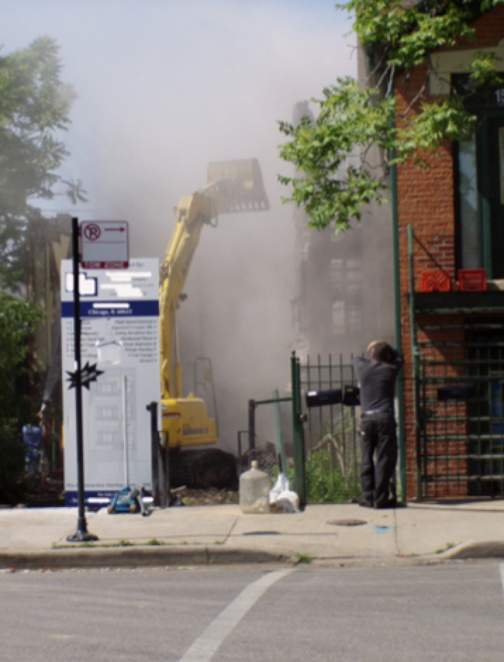 Researcher David Jacobs tested the quality of the air around dozens of home demolition sites in Chicago. He found high levels of lead an average of 400 feet away from the sites (Courtesy David Jacobs).