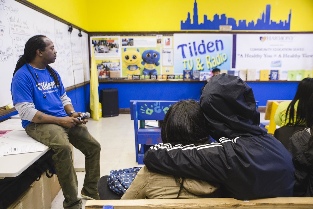 Tilden Career Community Academy's Michael Finney founded Tilden TV and Radio six years ago to help his students think creatively and become more confident with their communication skills. Photo: Pat Nabong
