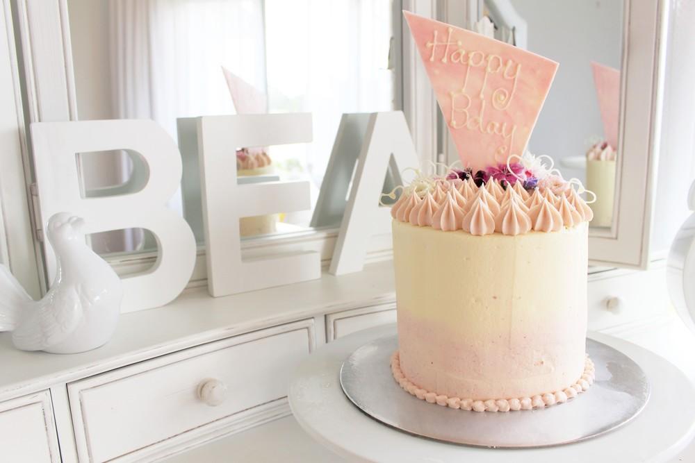 Lemon & Raspberry Birthday Celebration Cake
