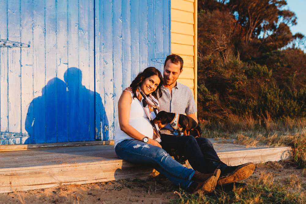 melbourne_maternity_photographer_jenny_rusby_photography_couple_sitting_together__with_dog_on_beach_box_at_the_beach_at_sunset