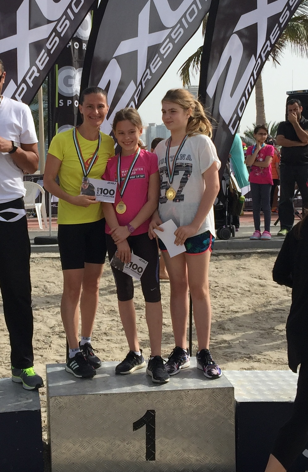 Running in the family... Laetitia Lemaire and daughter Elisa Lemaire and friend!