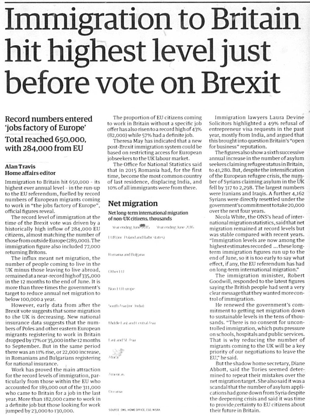 - Immigration to the UK was particularly high just before the Brexit referendum in 2016 but seems to have started to reduce since.This article, 'Immigration to Britain hit highest level just before vote on Brexit', details some of the statistics involved.Author: Alan TravisThe Guardian; London (UK), 2 December 2016© Guardian Newspapers Limited Dec 2, 2016