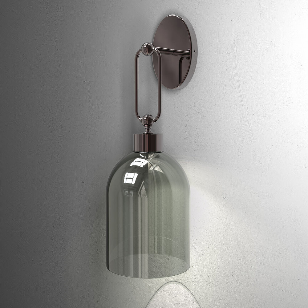 Wall - Incanto Modern Collection 4025 APGValentina Wall Sconce in metal with Canna di Fucile finish and Smoke Green glass diffuser.Available in different colours.Design THDP & Simone BrettiDownload Tear Sheet