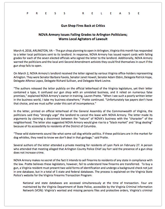 NOVA Armory     press release         3/14/16