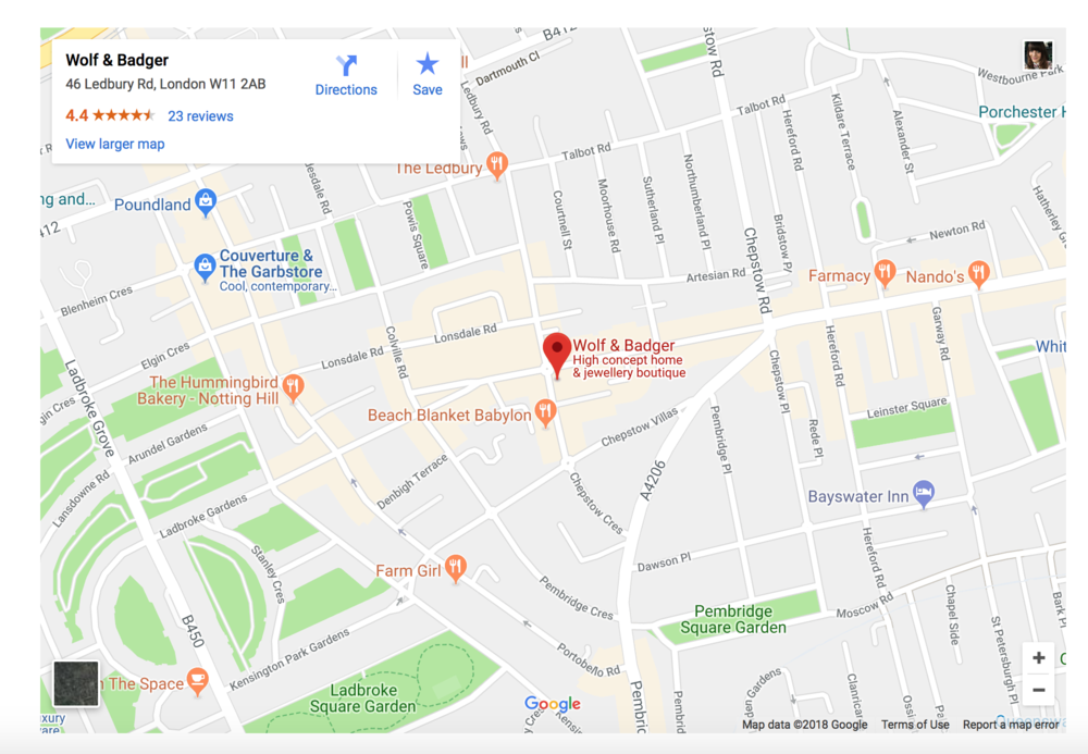 MAP OF NOTTING HILL STORE