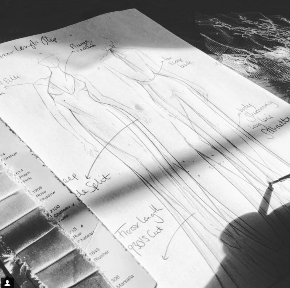 hand sketching in the studio