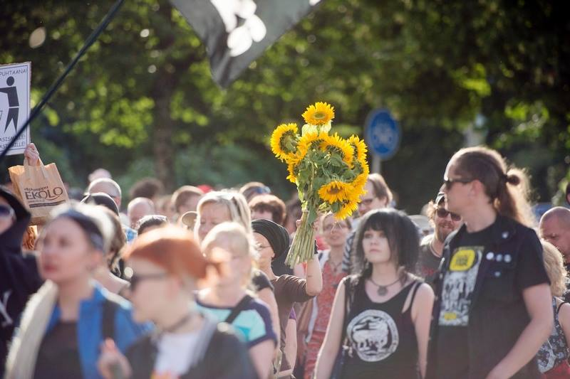 Demonstration against racism (me with sunflowers), Jyväskylä, august 2015. Photo: Usva Torkki