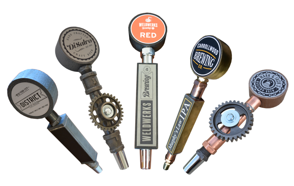 Customizeable industrial tap handle designs