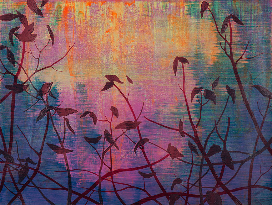 Wetland 43, Acrylic on paper, framed 24 x 30, Collection: Cleveland Clinic