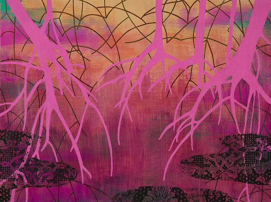 Wetland 44, Acrylic on paper, framed 24 x 30, Collection: Cleveland Clinic