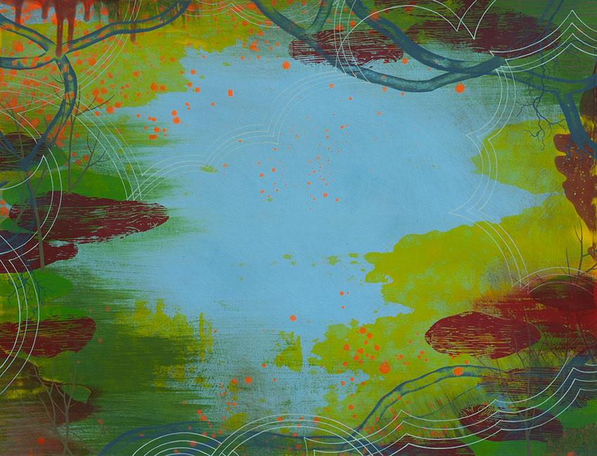 Wetland 37, Acrylic on paper, framed 24 x 30, Collection: Cleveland Clinic