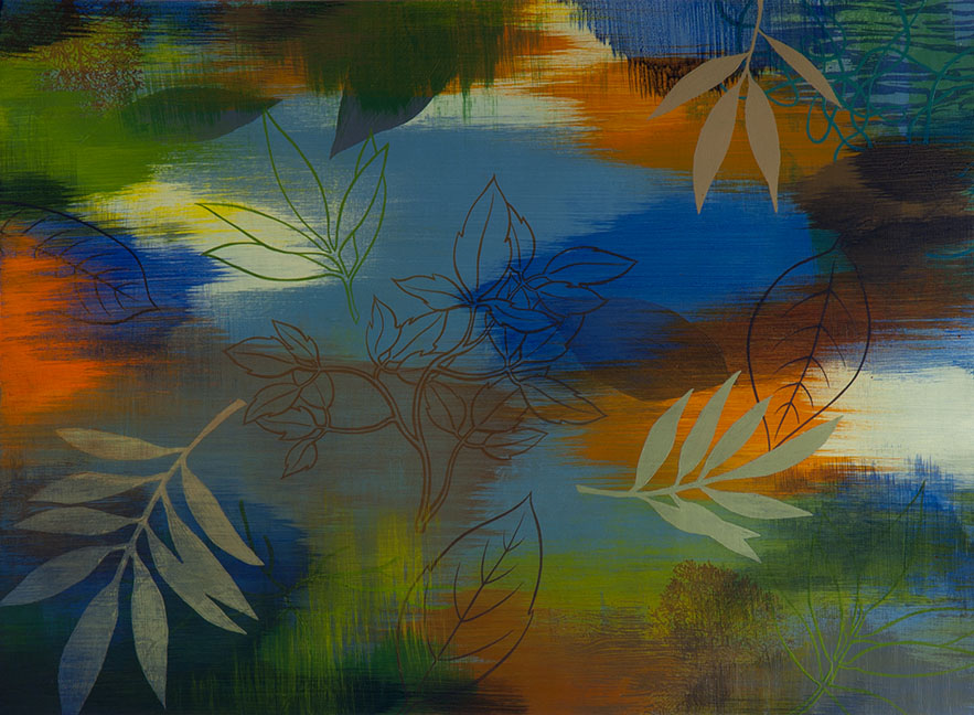 Wetland 38, Acrylic on paper, framed 24 x 30, Collection: Cleveland Clinic