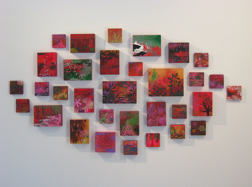 "Nature Grid  -Grouping of small acrylic paintings on panel in assorted sizes, Dimensions are variable, 40 x 70 x2"" shown"