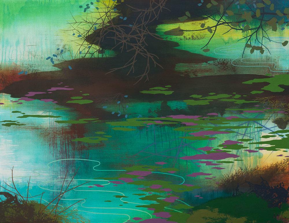 """Algae Bloom   Acrylic on canvas 46 x 60 x 1.5"""""""
