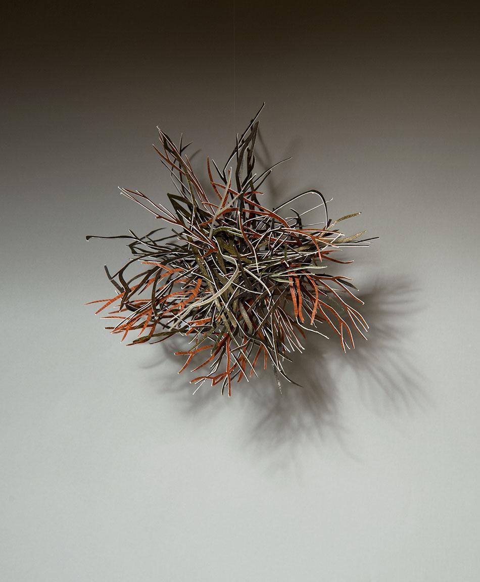 "Tumbleweed   Cut, painted paper 7 x 7 x 7"""