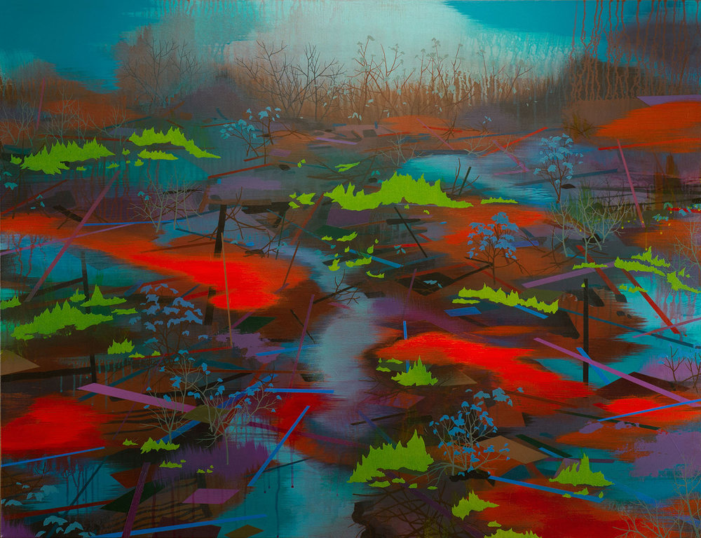 "Marsh Fire   Acrylic on canvas 40 x 52 x 1.5""  SOLD"