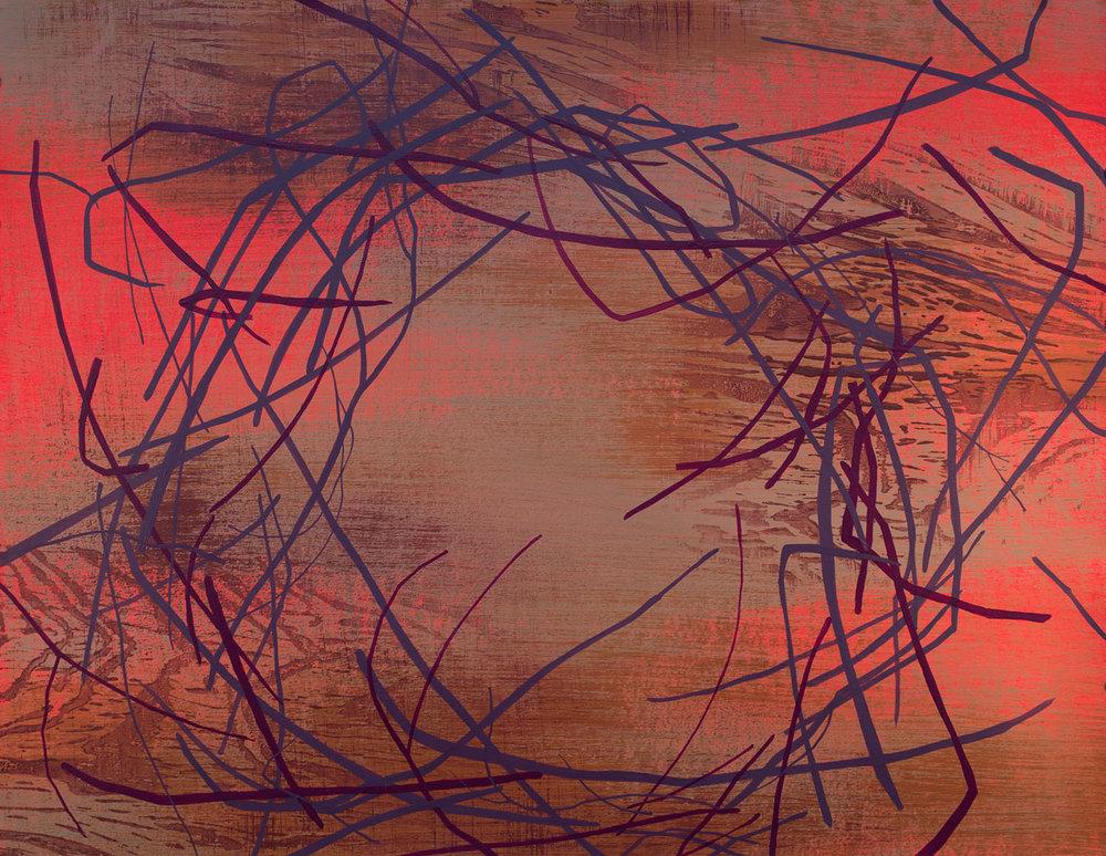 """Wetland 78 , Acrylic on paper, 19 x 24"""""""