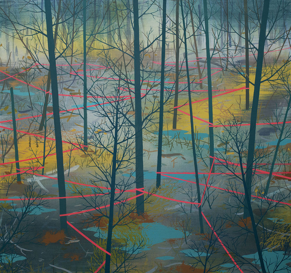 Delineated Woodland Acrylic on canvas 28 x 30 x 1.5""