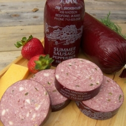 Summer Sausage,  including  Cheddar, Pepper Jack, or Jalapeno & Pepper Jack  8.50/roll  You don't need crackers and cheese to enjoy this summer sausage!  Perfect appetizer for any event!