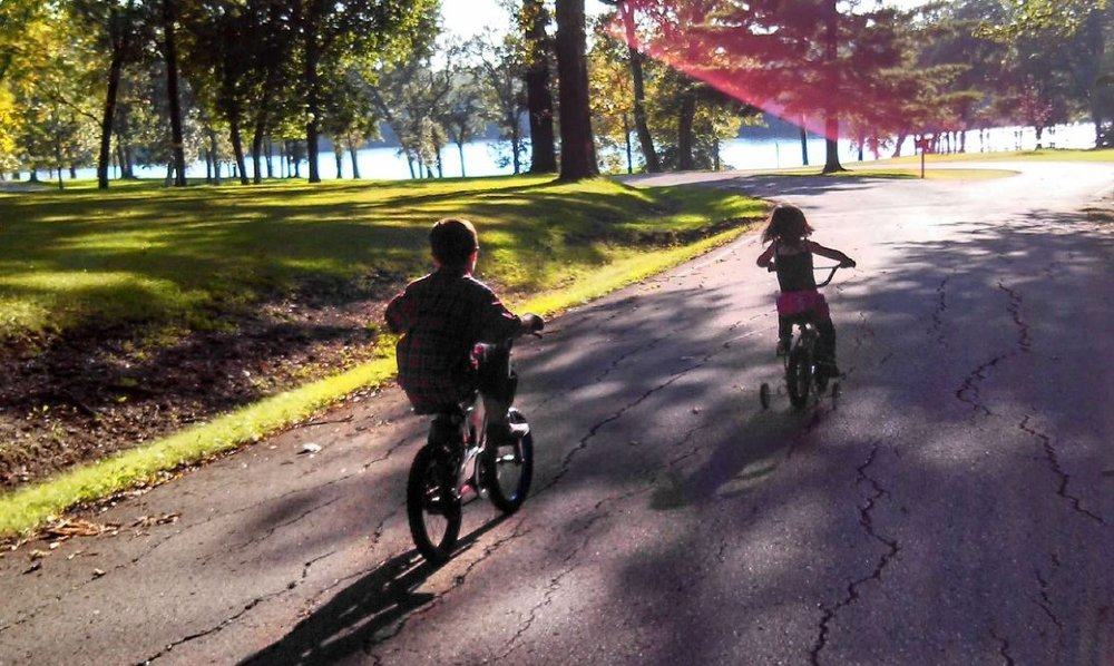 The Lake of Three Fires is a great place to ride bikes! Both of our kids learned how to ride for the first time here!