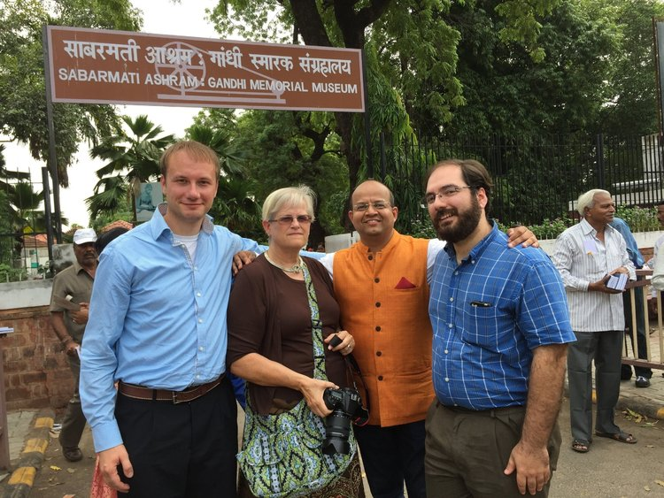 Mayor Odom, Mayor Holmes, Mandar Apte, Mayor Avitabile at Gandhi's Sabarmati ashram