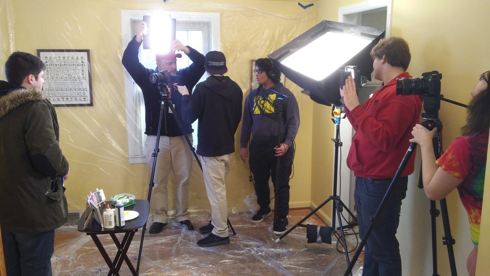 "Anthony Mifsud, Kurt Doelle, Ali Bazzi, Jack Fish, Richard Cialone, and Sema Alsaid on set of ""Grandpa's List""."