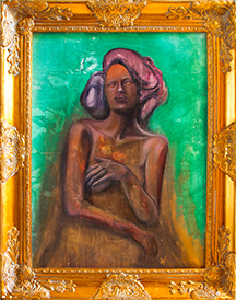 My piece for the show. Madam Aurum. Oil on panel