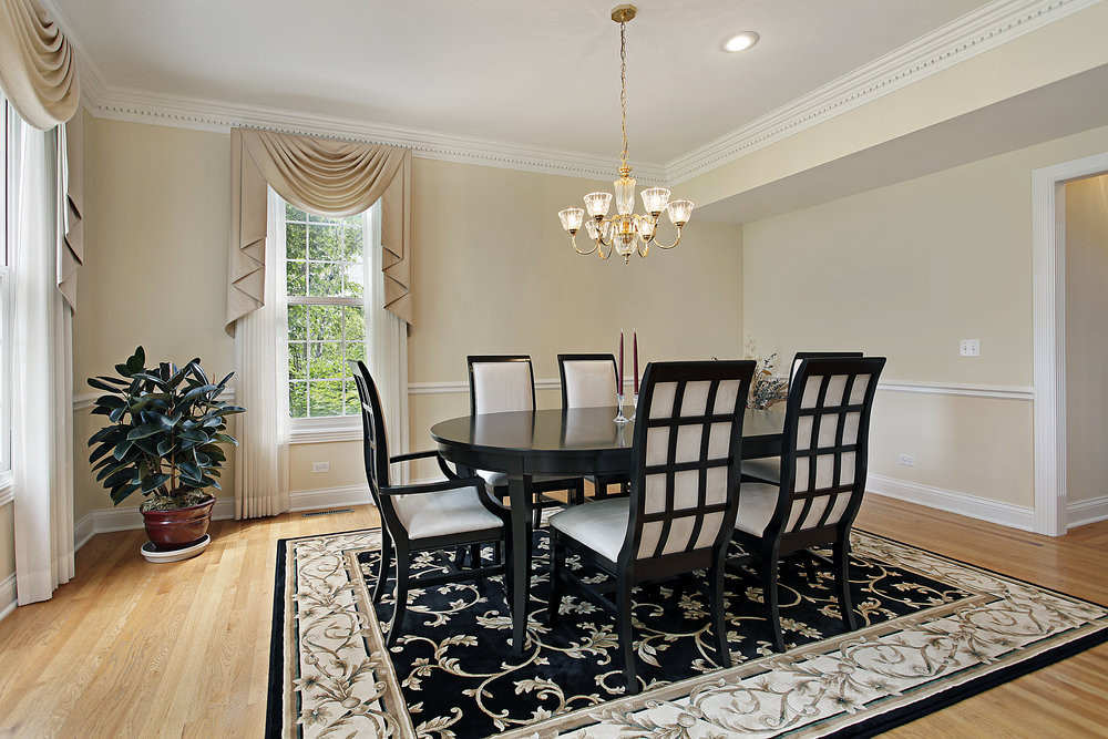 Dining room: Interior Design Nashua NH with window treatments in nashua nh