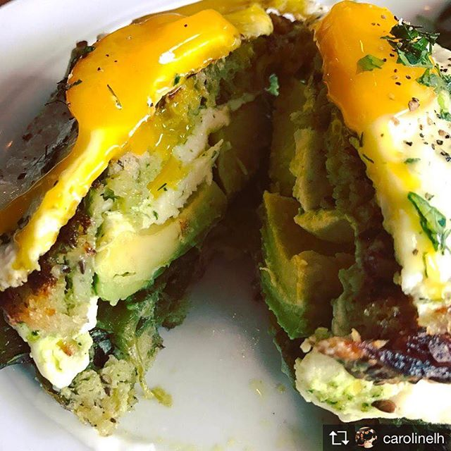 Lunch today (avocado grilled cheese w fried egg) until our last day MAY 28. Repost from @carolinelh 'About to eat this while wearing white pants. Wish me luck!' #messyeaterproblems