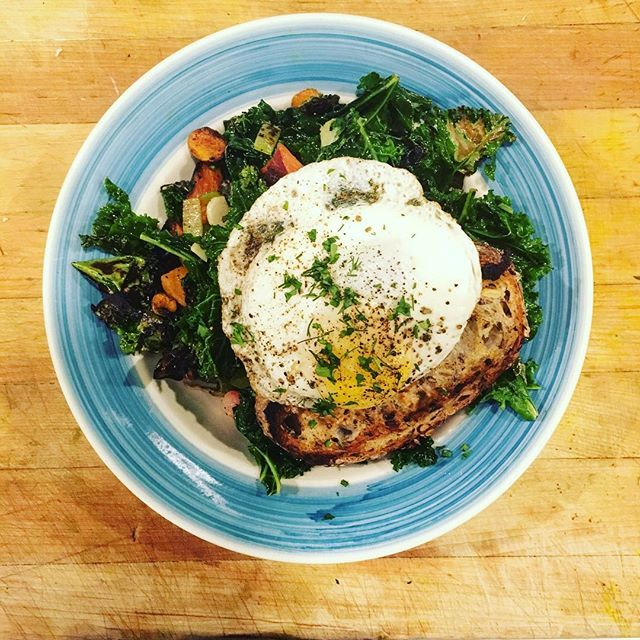 Still serving the dish that got us into this gig @smallmangalleypgh .. kale + egg. #eatgreen #healthyeating
