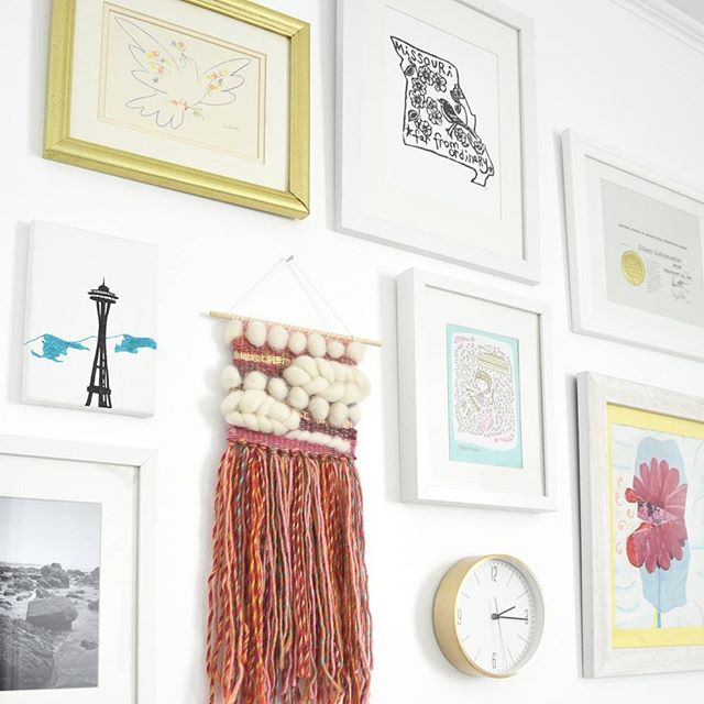 Added a few more things to my inspiration #gallerywall--a little @perlaannepress, some gifts, and of course a #wovenwallhanging.  #leenbdesign #wallhanging  #wallart #etsy #fiberart  #handmade #tapestry #walldecor #interiordecor #flashesofdelight #livecolorfully  #crafttherainbow #makersgonnamake #abmcrafty #weaving #nurserydecor #homestudio #westelmlocal #charlestonsc