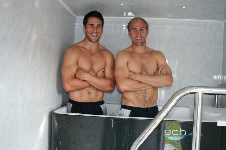 Gloucester & England Rugby players, Olly Morgan & Matt Cox using the ECB Cold spa after training