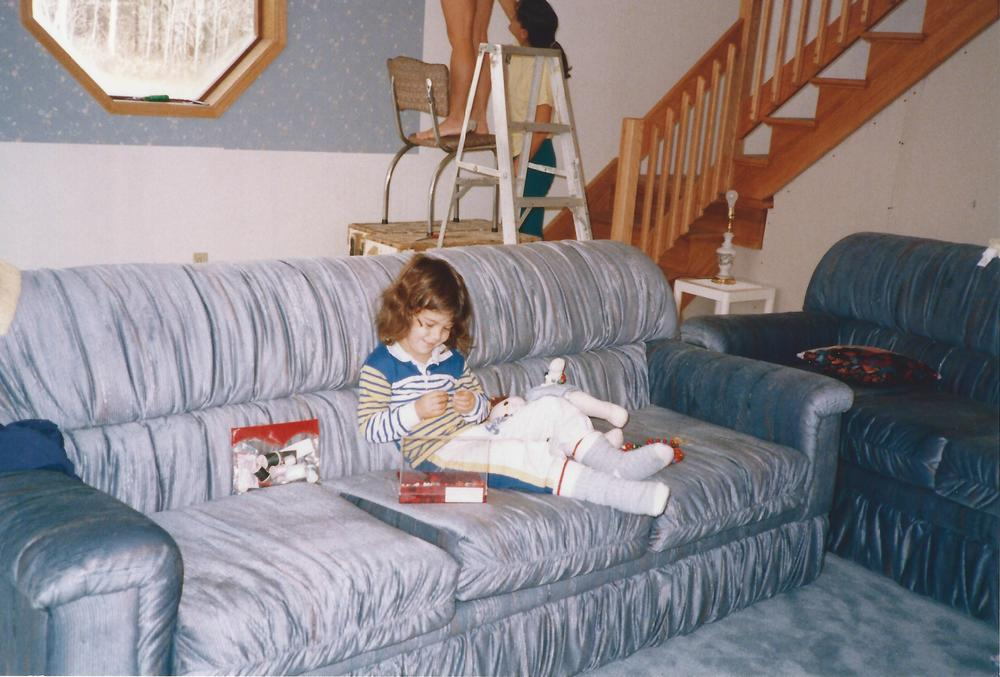 My parents always encouraged my crafty talents (note the chair on a box in the background? Seems like a precarious way to put up wallpaper)