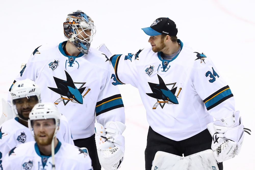 Game five of the Western Conference Final:San Jose Sharks Martin Jones and James Reimer celebrating a huge win over The Blues on Monday night.