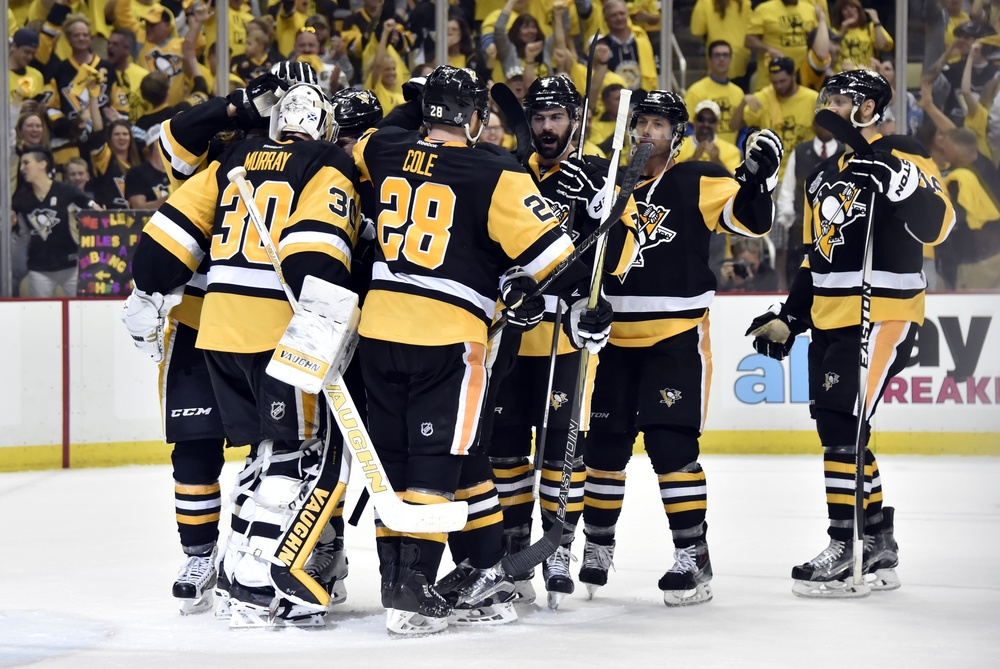 May 30, 2016; Pittsburgh, PA, USA; Pittsburgh Penguins goalie Matt Murray (30) celebrates with teammates after defeating the San Jose Sharks in game one of the 2016 Stanley Cup Final at Consol Energy Center. Mandatory Credit: Don Wright-USA TODAY Sports