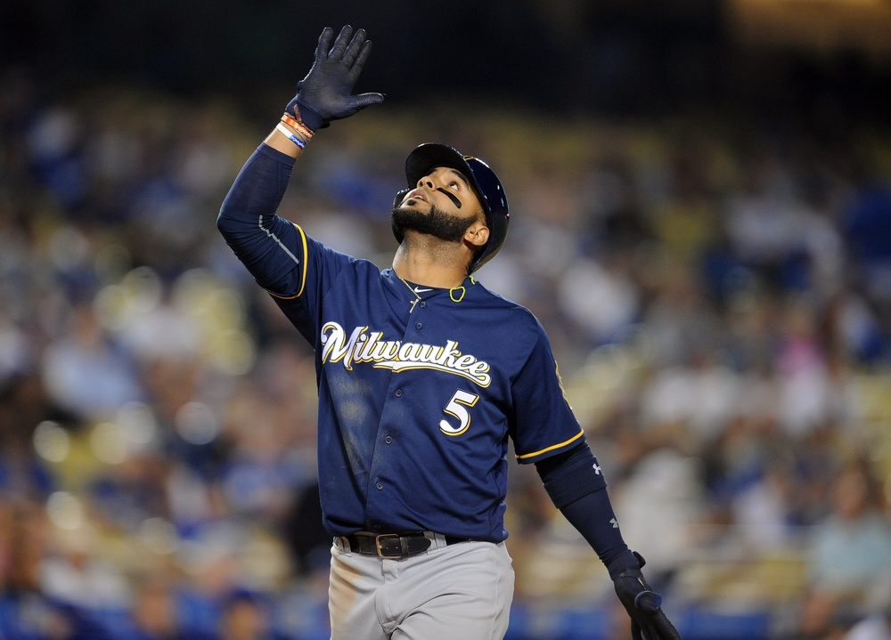 June 16, 2016; Los Angeles, CA, USA; Milwaukee Brewers shortstop Jonathan Villar (5) reacts after hitting a two run home run in the ninth inning against Los Angeles Dodgers at Dodger Stadium. Mandatory Credit: Gary A. Vasquez-USA TODAY Sports