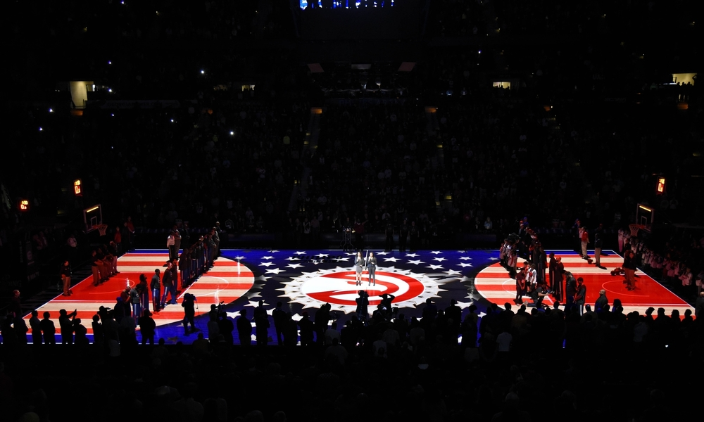 Jan 19, 2015; Atlanta, GA, USA; A general view of the court during the National Anthem prior to the game between the Detroit Pistons and the Atlanta Hawks at Philips Arena. Mandatory Credit: Dale Zanine-USA TODAY Sports