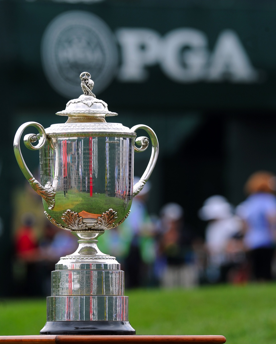 Aug 10, 2014; Louisville, KY, USA; The Wanamaker Trophy displayed on the first tee during the final round of the 2014 PGA Championship golf tournament at Valhalla Golf Club. Mandatory Credit: Thomas J. Russo-USA TODAY Sports