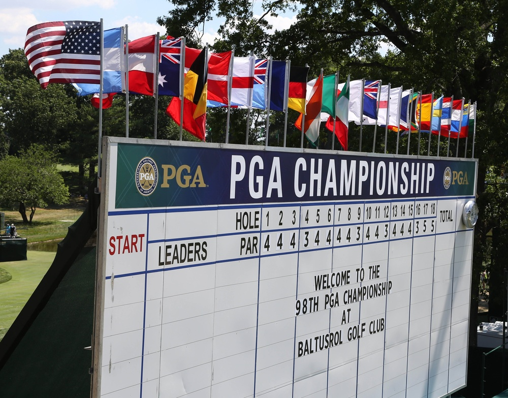Jul 27, 2016; Springfield, NJ, USA; A scoreboard on the 18th hole welcomes fans during a practice round for the 2016 PGA Championship golf tournament at Baltusrol GC - Lower Course. Mandatory Credit: Brian Spurlock-USA TODAY Sports