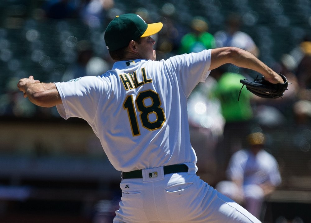 Jul 17, 2016; Oakland, CA, USA; Oakland Athletics starting pitcher Rich Hill (18) pitches the ball against the Toronto Blue Jays during the first inning at O.co Coliseum. Mandatory Credit: Kelley L Cox-USA TODAY Sports