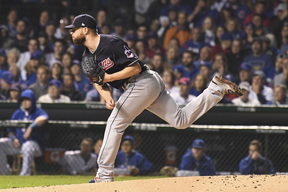 Corey Kluber pitches the ball.