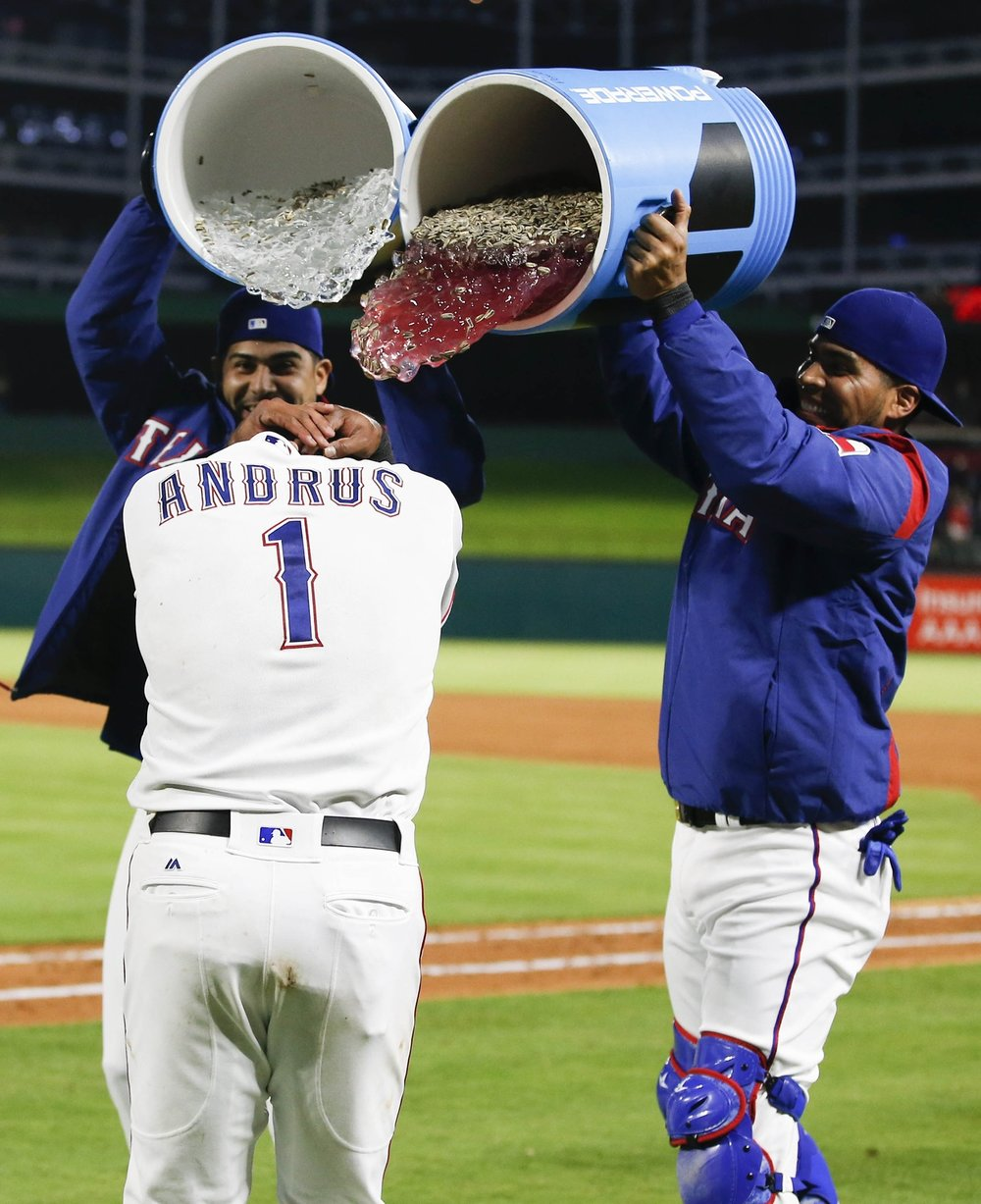 Elvis Andrus hits game winning single.